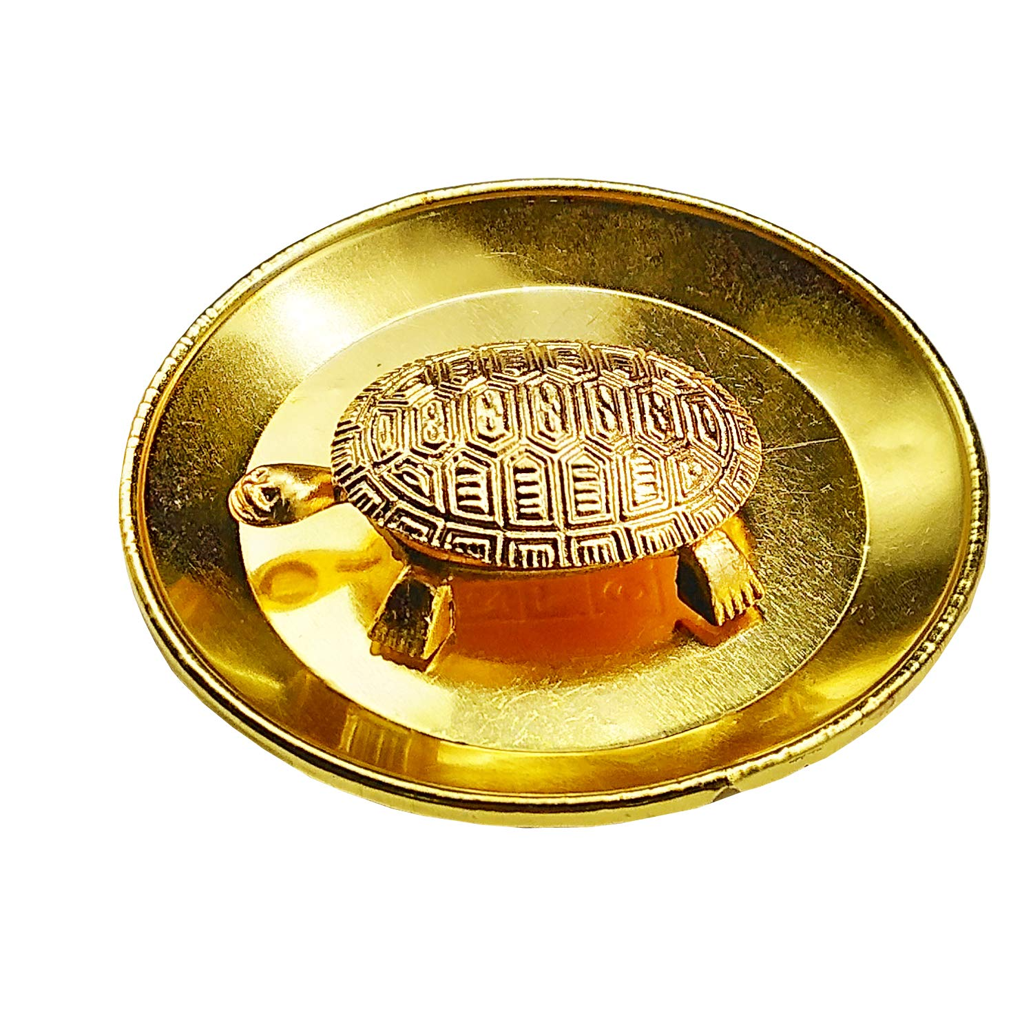 Golden Metal Plate Kachua Pooja Thali Yantra Fengshui Tortoise Turtle Plate Yantra - Bagaholics Gift