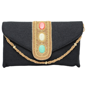 Ethnic Jute Bead and Stylish Stone Studded Clutches - Bagaholics Gift