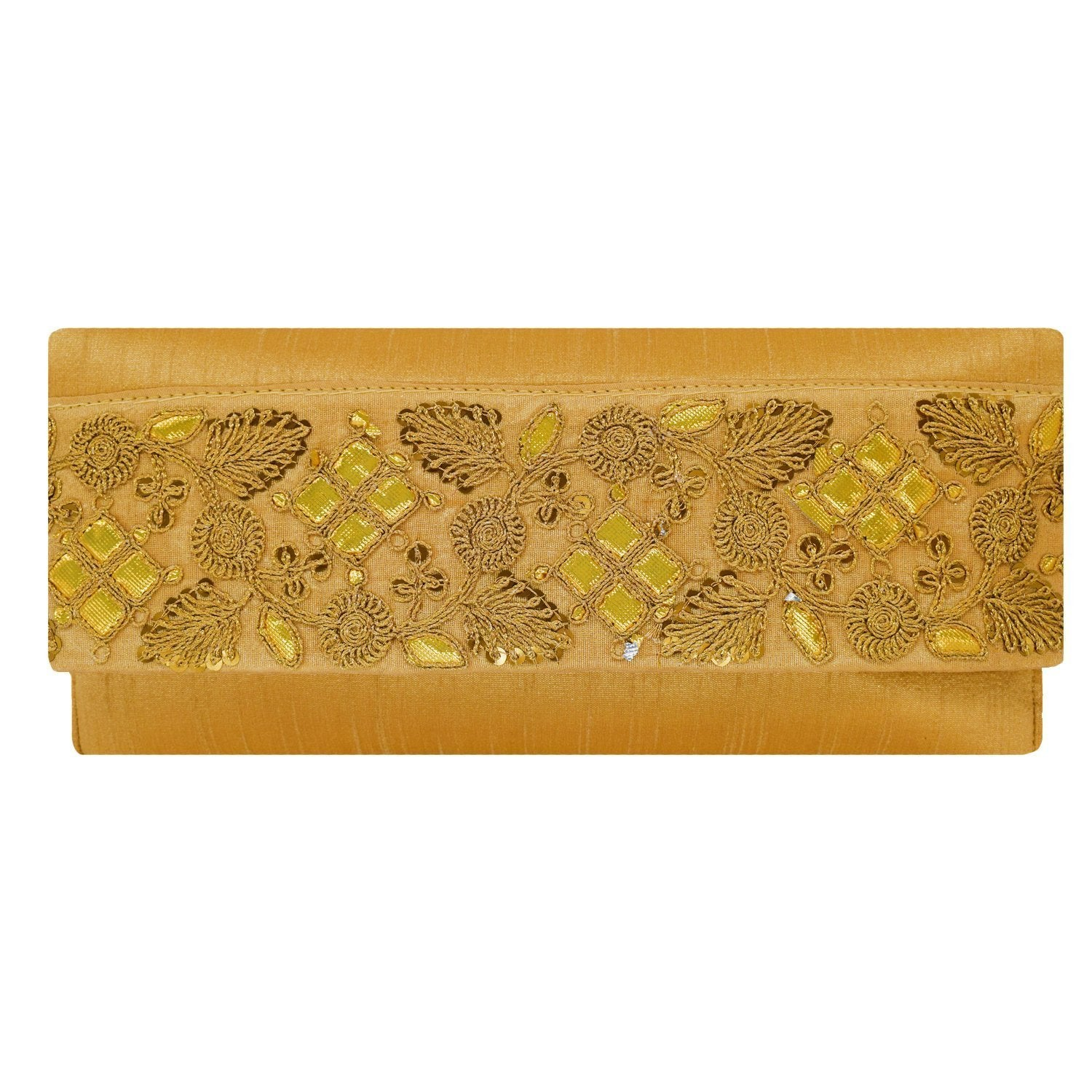 Ethnic Silk Embroidery Work Clutch (Gold) - Bagaholics Gift
