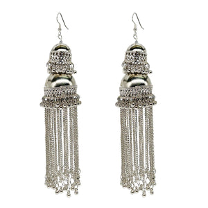 Silver Plated Long Jhumki Drop Earrings for Women - Bagaholics Gift