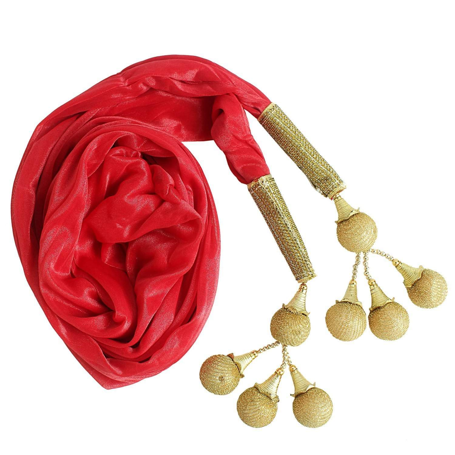 Woman's Dupatta with Pom Pom Lace (Red) - Bagaholics Gift