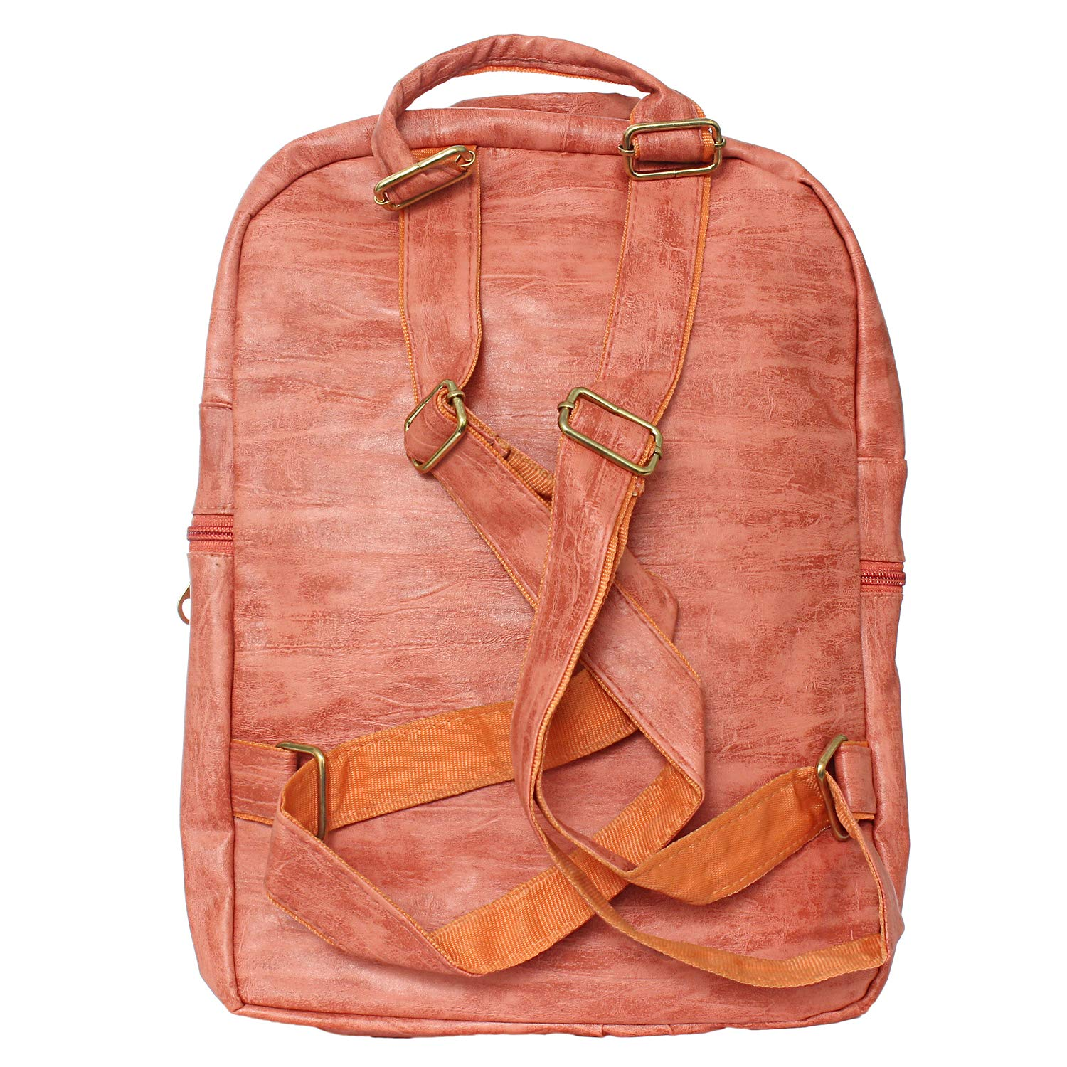 Artificial Leather Student Backpack For Girls (Peach) - Bagaholics Gift