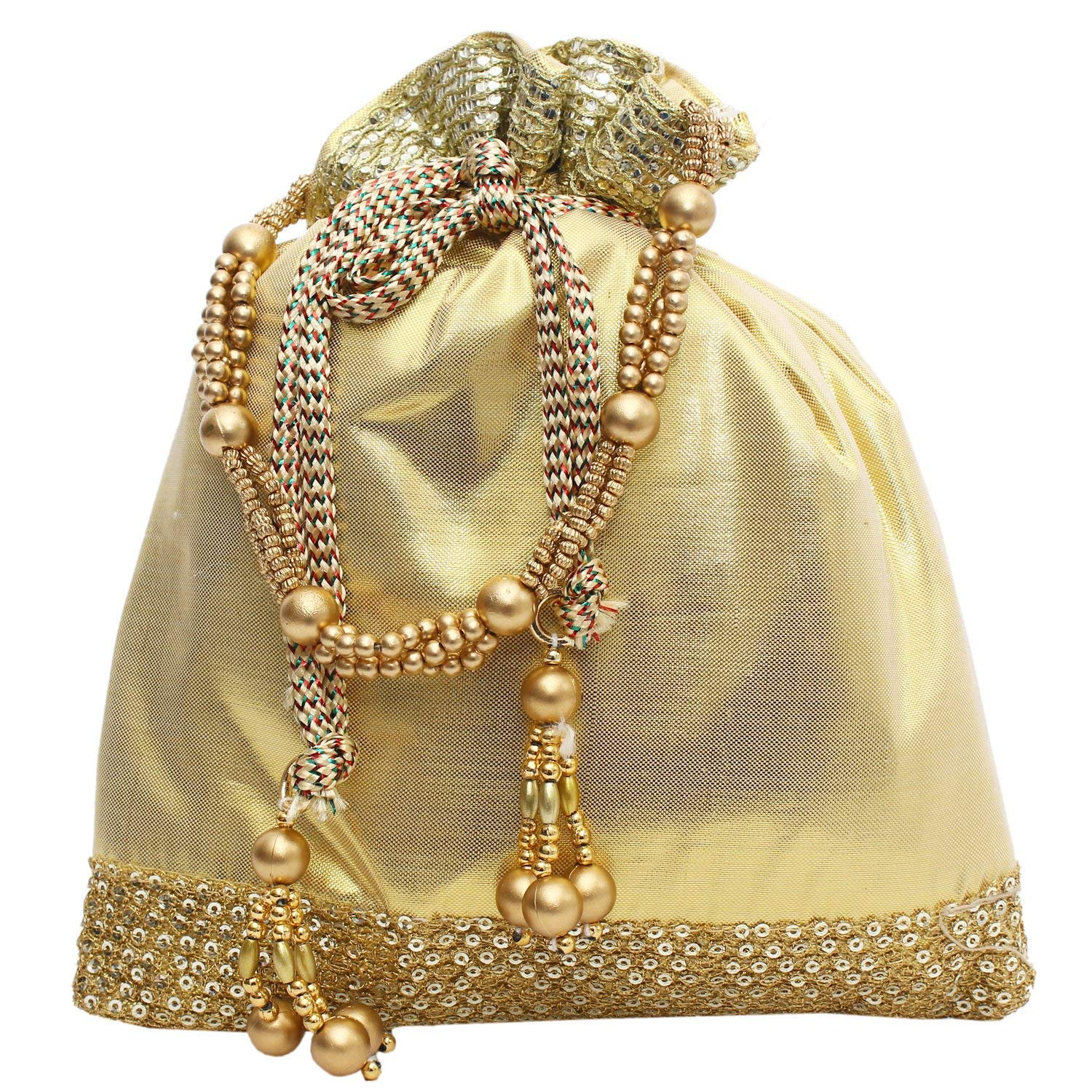 Wedding gift Women's Raw Silk Potli Bag Golden - Pack of 5 - Bagaholics Gift