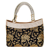 Ethnic Silk Embroidery Bag (Black) - Bagaholics Gift