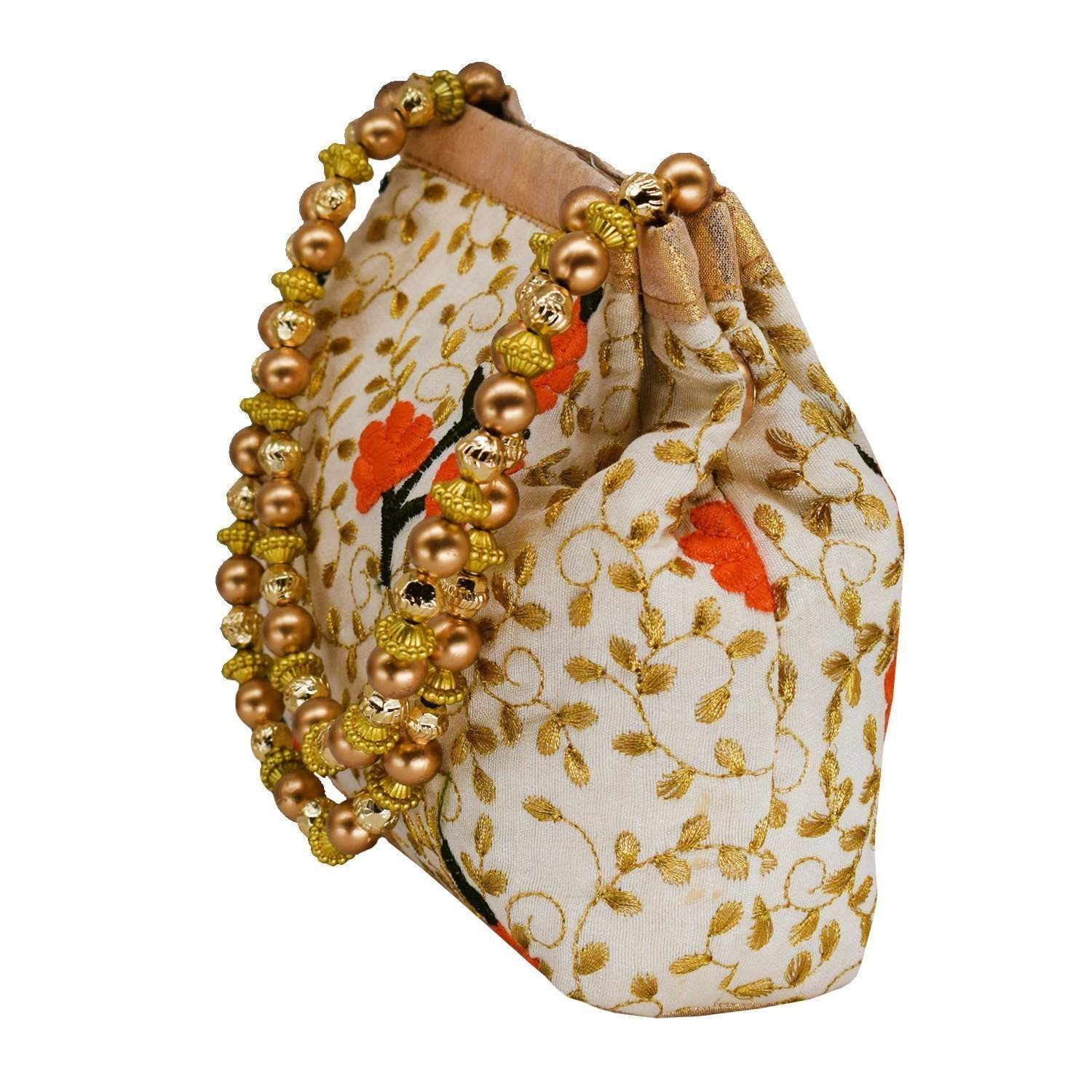 Ethnic Silk Potli Bag Batwa Pouch (Orange) - Bagaholics Gift