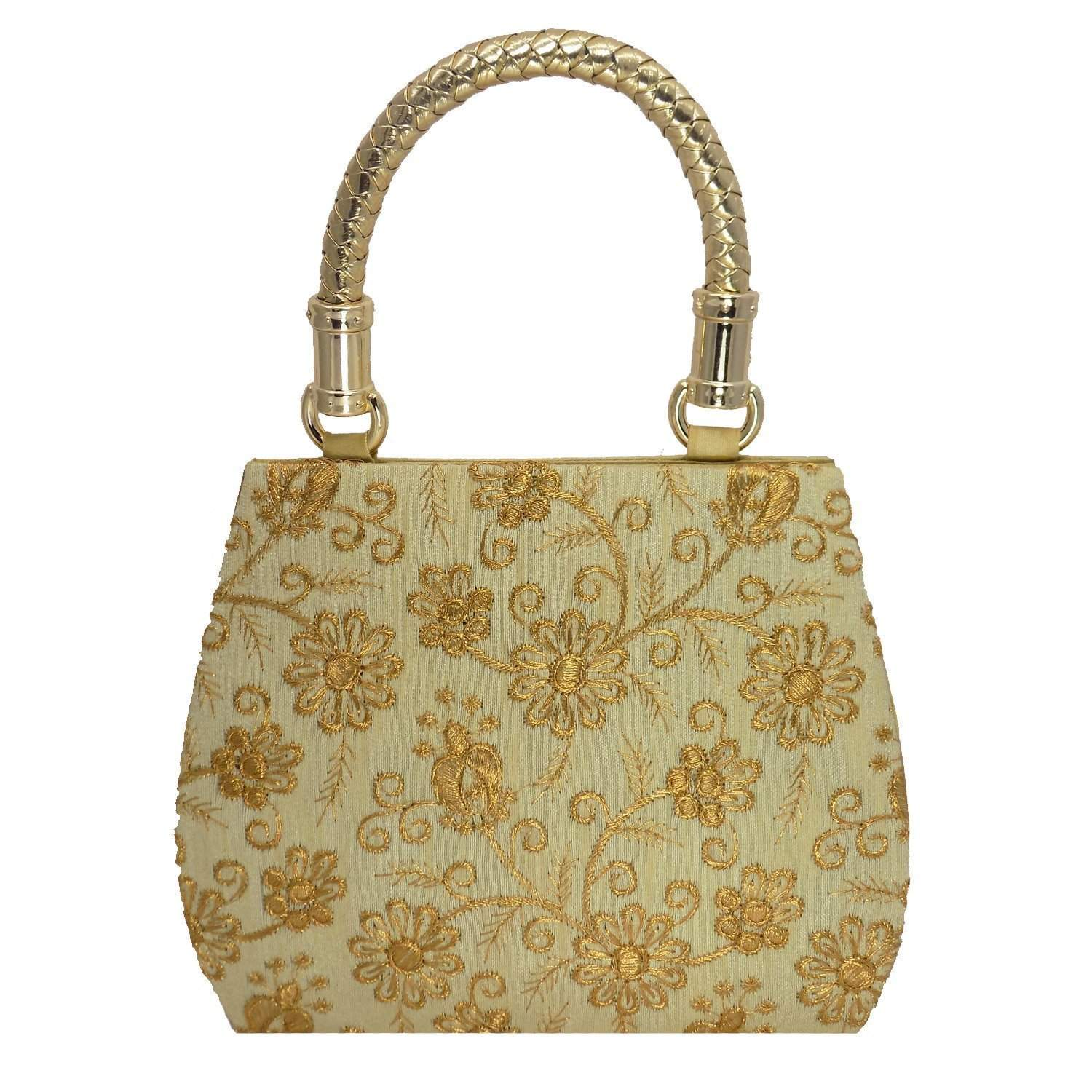 Ethnic Silk Bag (Gold) - Bagaholics Gift