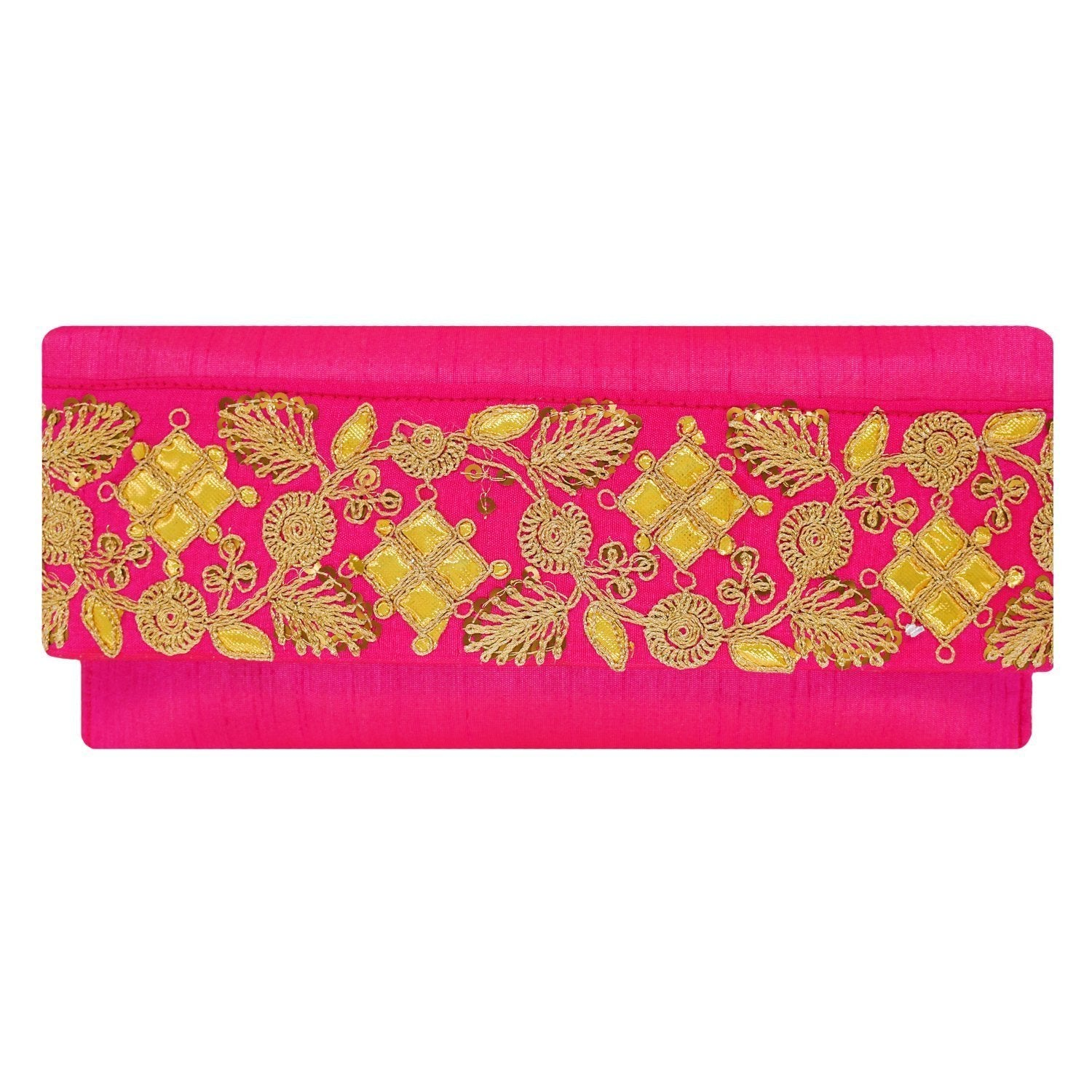 Ethnic Silk Embroidery Work Clutch (Pink) - Bagaholics Gift