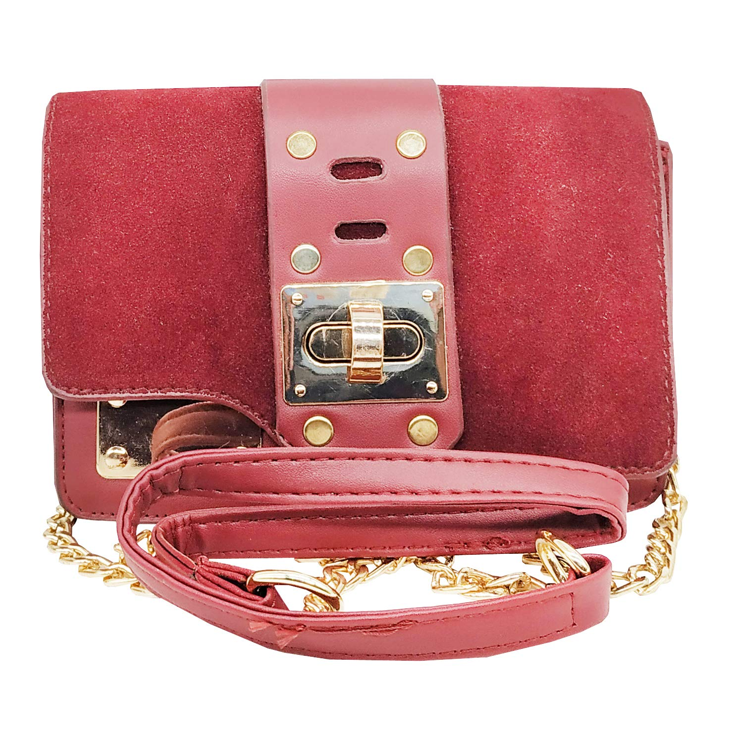 Girls Box Sling Bag Side Bag Cross Body Bag (Maroon) - Bagaholics Gift