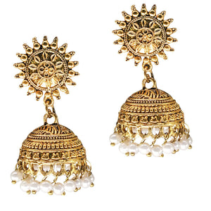 Sun Shape Gold Plated Jhumki Jhumka Earrings