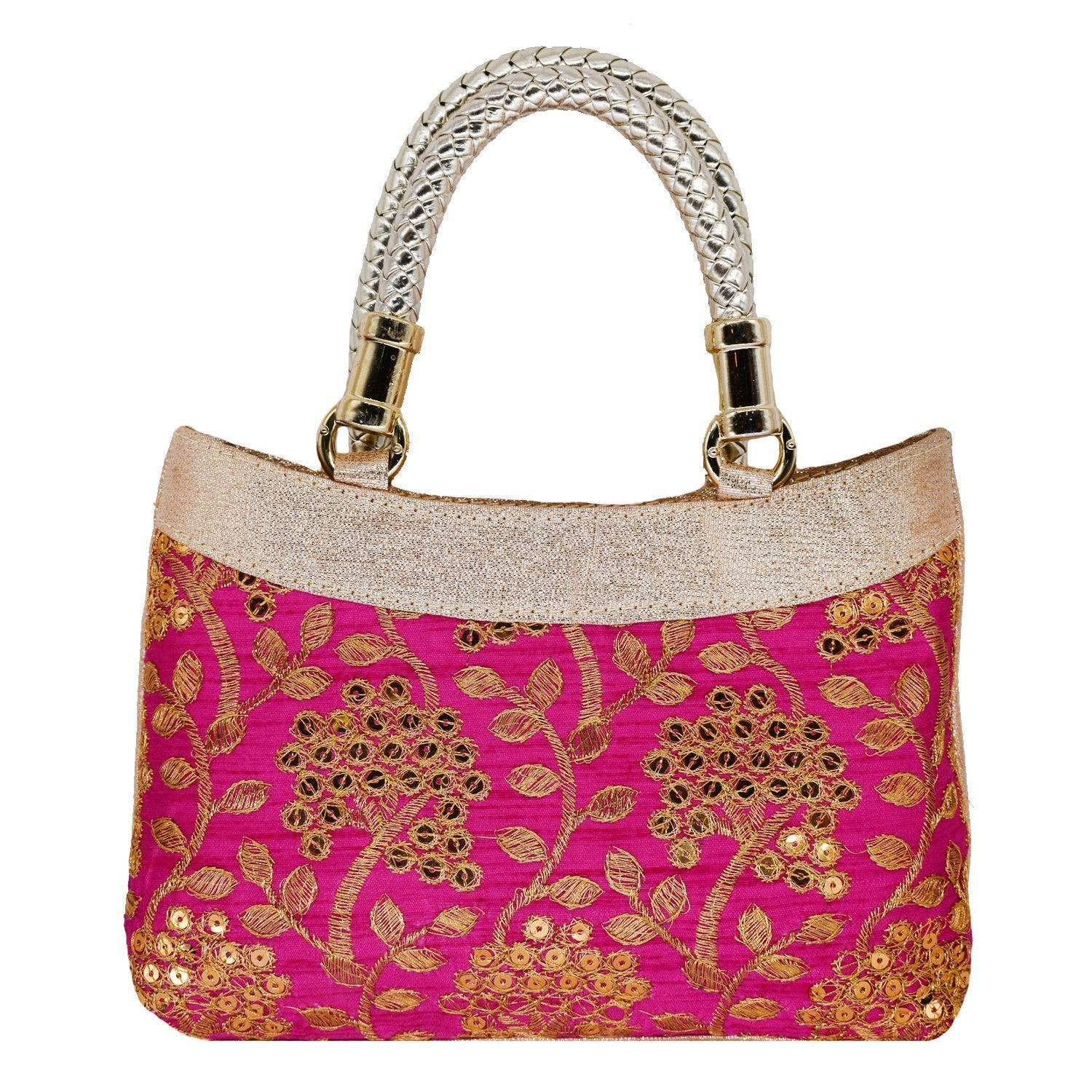 Ethnic Silk Embroidery Bag (Pink) - Bagaholics Gift