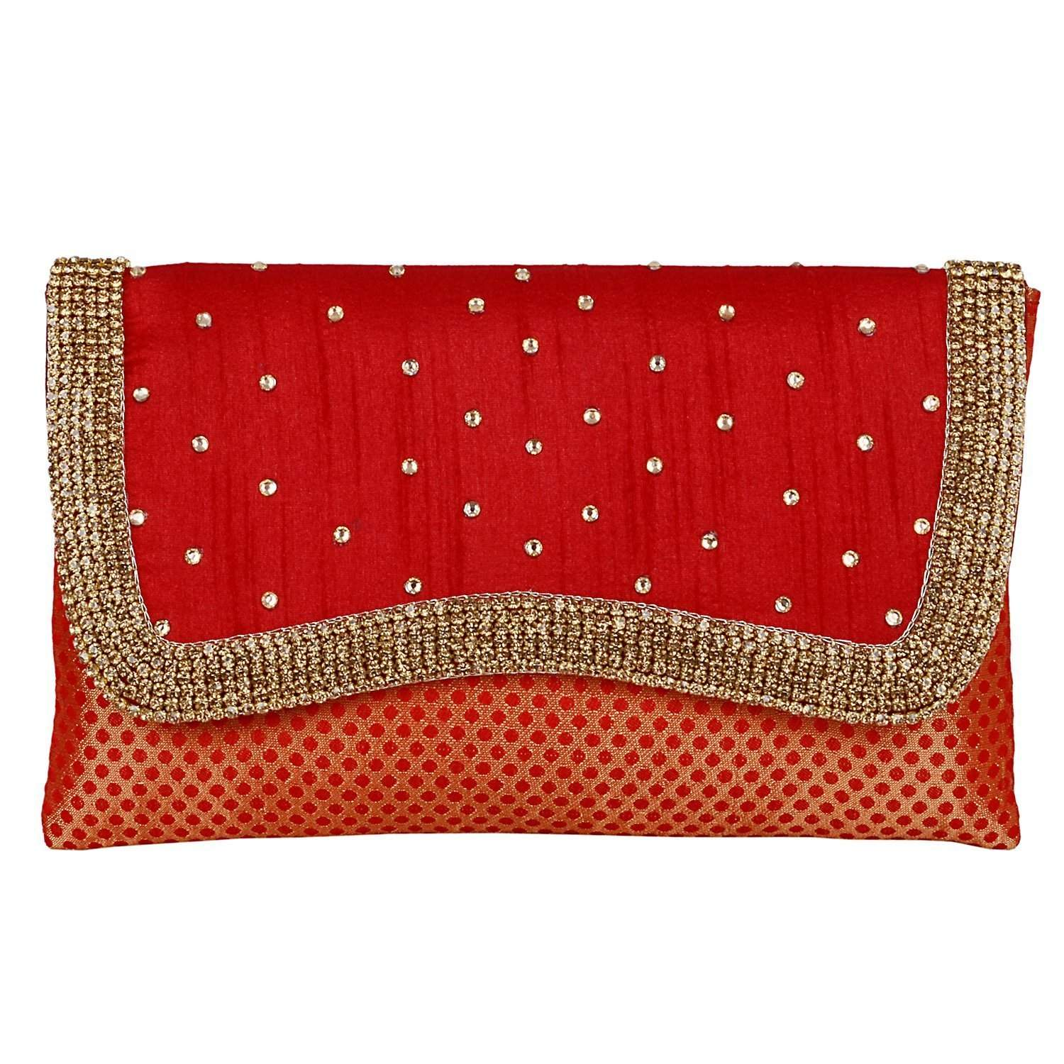 Ethnic Embroidery Clutch (Red) - Bagaholics Gift