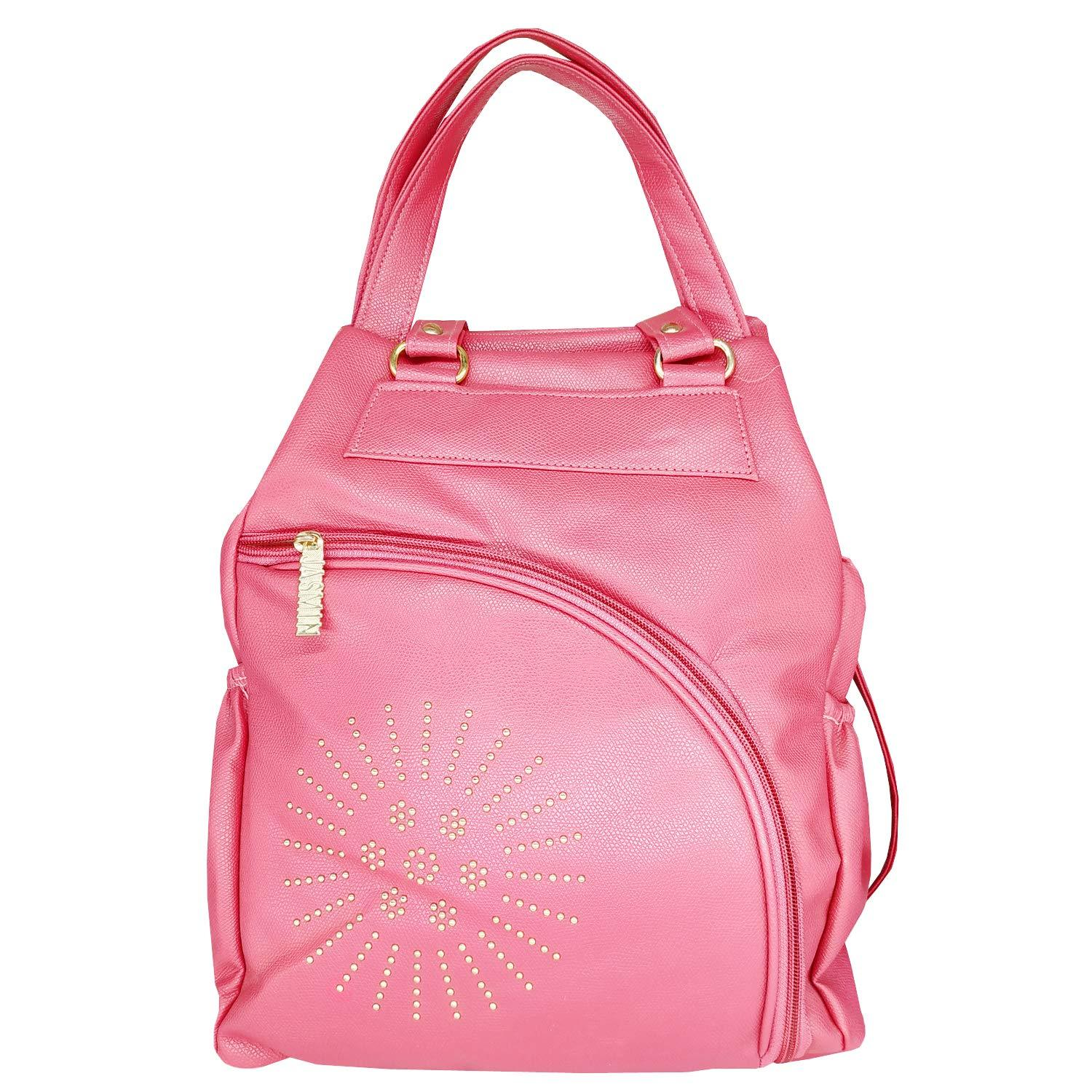 Artificial Leather Student Backpack For Girls (Pink) - Bagaholics Gift