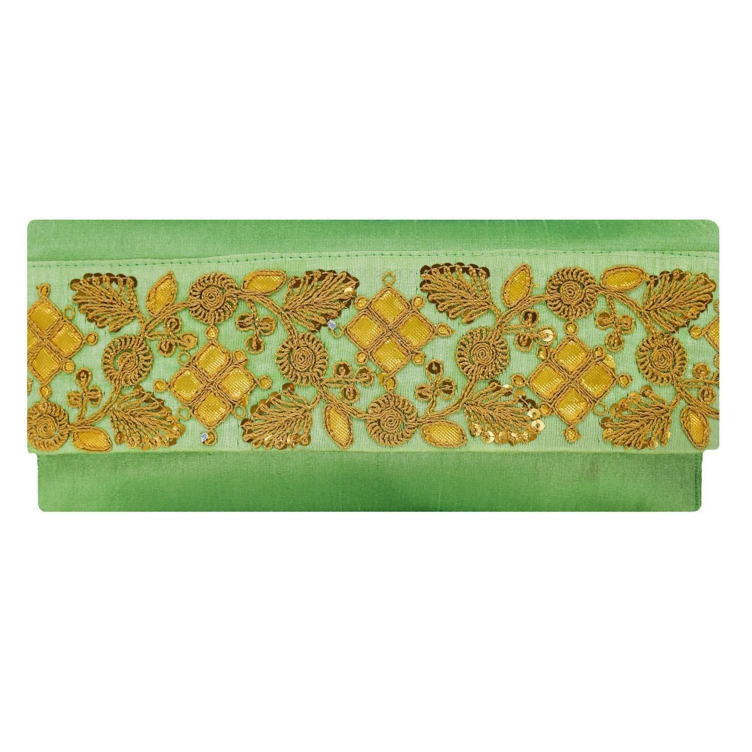 Ethnic Silk Embroidery Work Clutch (Green) - Bagaholics Gift