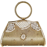 Ethnic Diamond Studded Raw Silk Embroidery work Bridal Clutch - Bagaholics Gift