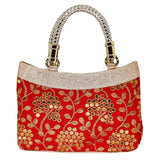 Ethnic Silk Embroidery Bag (Red) - Bagaholics Gift