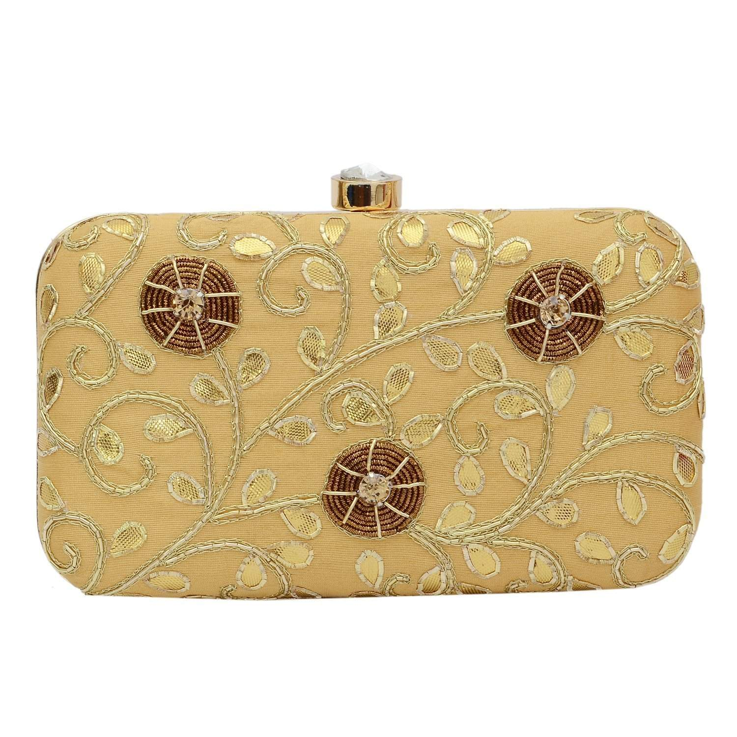 Party wear Box Clutch (Gold) - Bagaholics Gift
