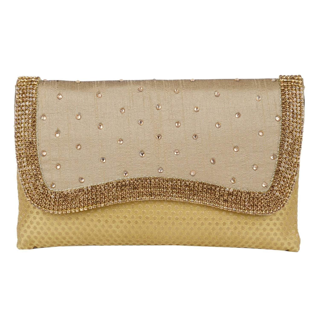 Ethnic Embroidery Clutch (Dark Gold) - Bagaholics Gift