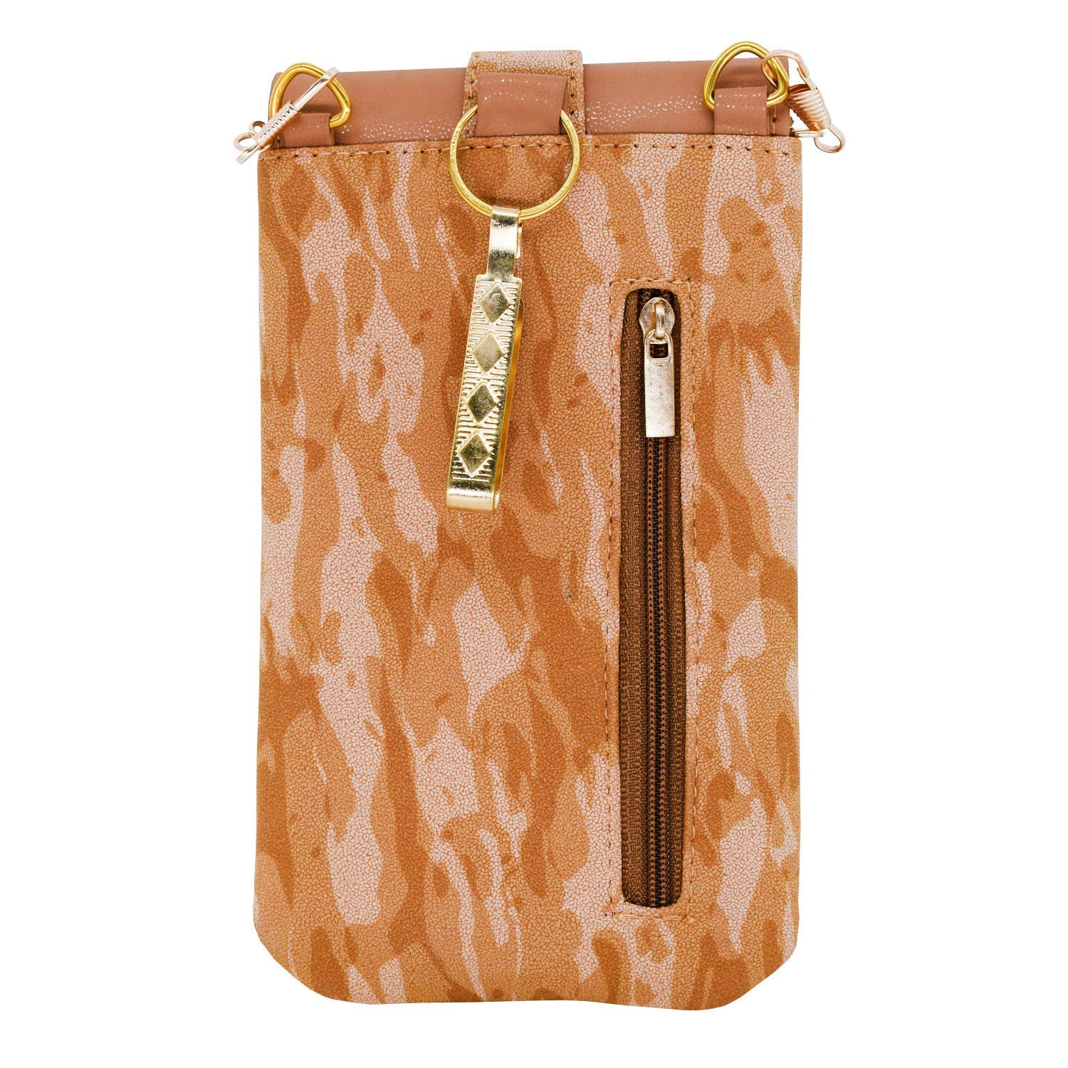 Leather Mobile Pouch with Waist Clip (Gold) - Bagaholics Gift