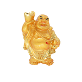 Feng Shui Chinese Happy Laughing Buddha Figurine Golden Statue Gift Showpiece (9 CM) - Bagaholics Gift