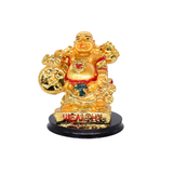 Feng Shui Chinese Happy Laughing Buddha Figurine Golden Statue Gift Showpiece (9.5 CM) - Bagaholics Gift