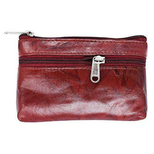Genuine Leather Zipper Coin Purse Mini Money Wallet Travel Portable Purse Gift For Girls (Maroon) - Bagaholics Gift