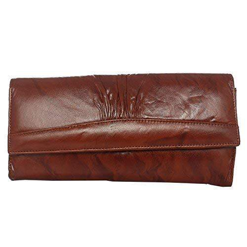 Long Leather Girls Wallet Ladies Purse (Brown) - Bagaholics Gift
