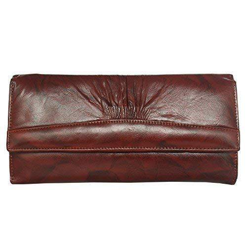 Long Leather Girls Wallet Ladies Purse (Maroon) - Bagaholics Gift