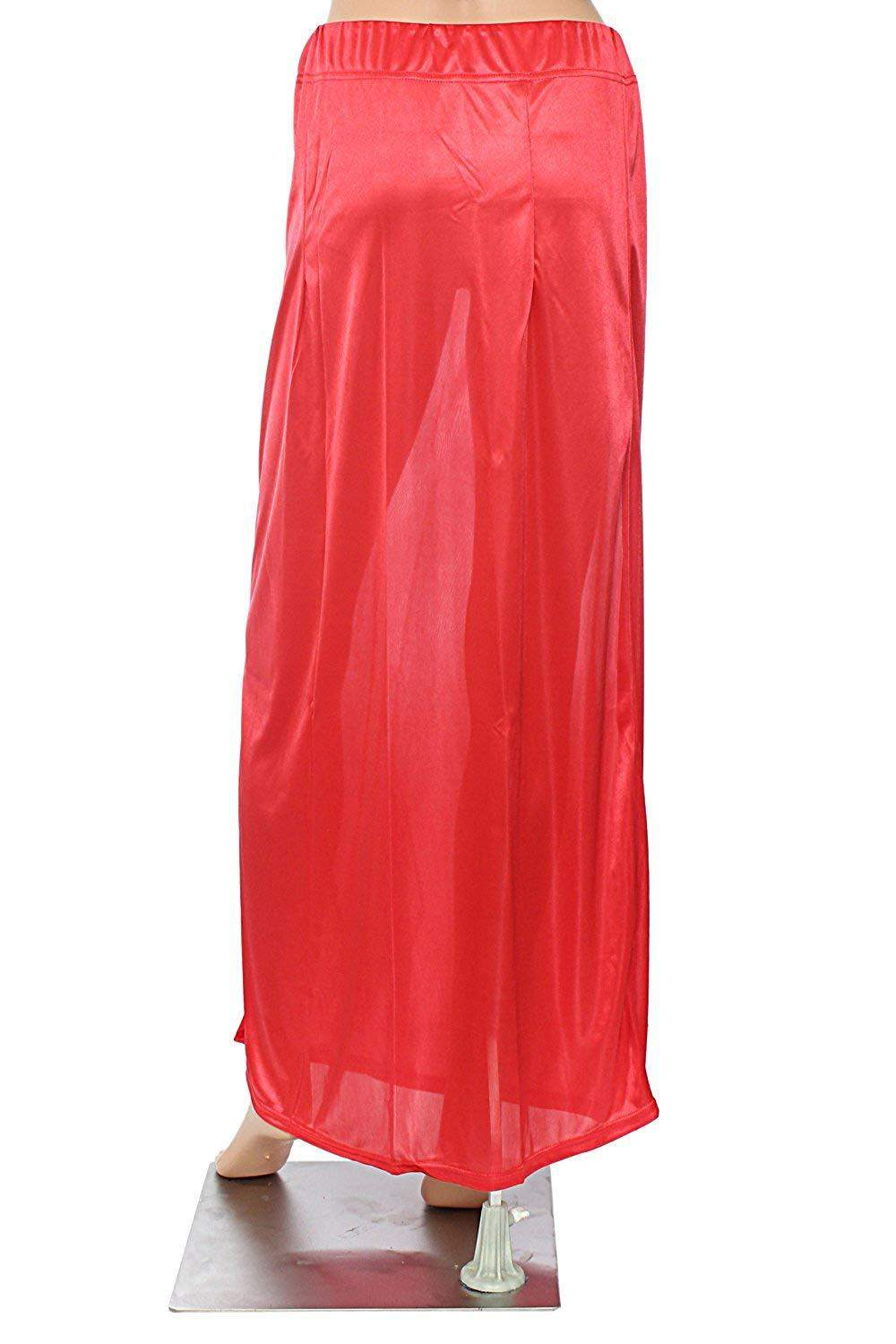 Premium Free Size Satin Women Sari Petticoat InSkirt For Saree (Light Red) - Bagaholics Gift