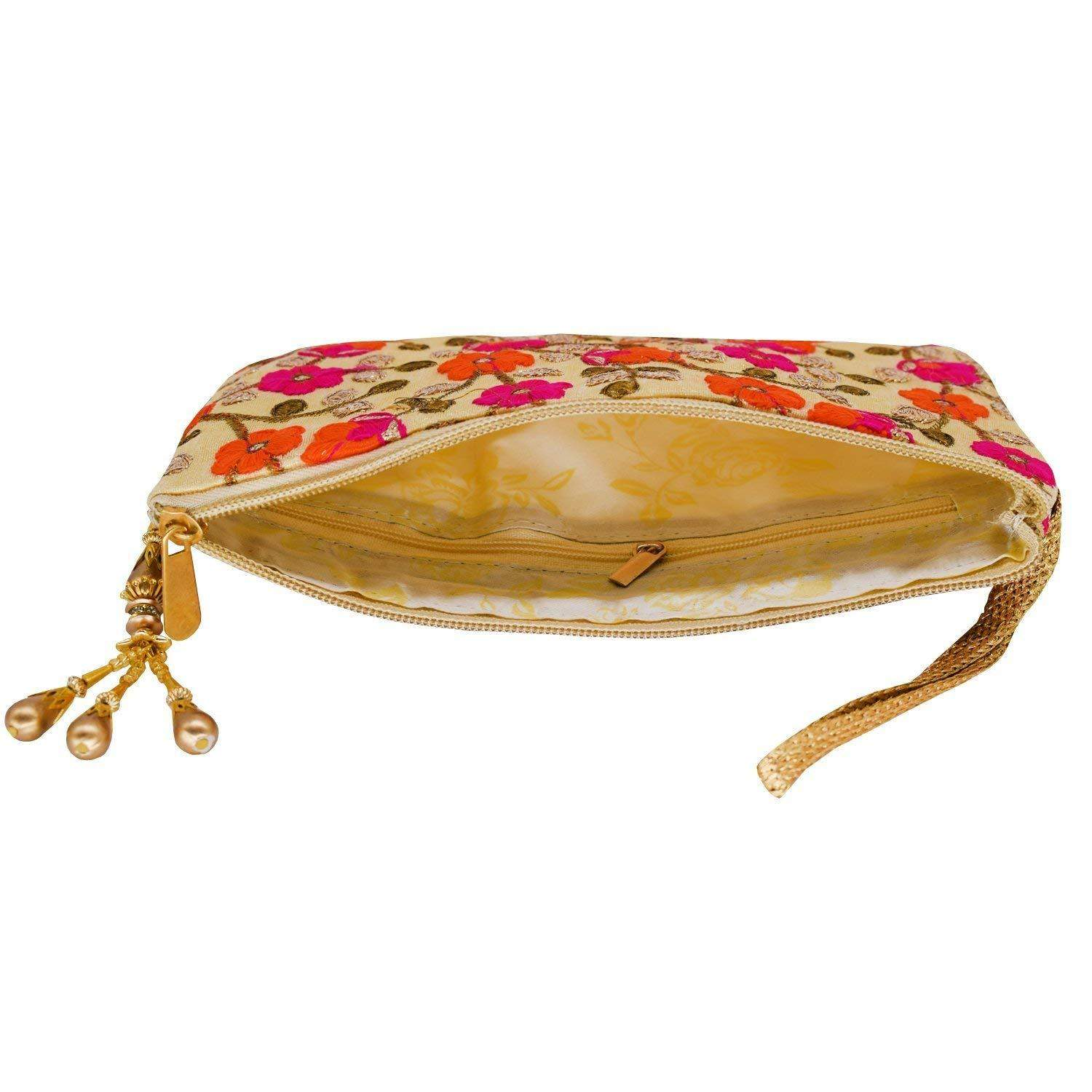 Ethnic Silk Embroidery Work Multipurpose Pouch (Gold) - Bagaholics Gift