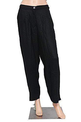 Stylish Cotton Linen Plain Solid Pants Trousers (Black, X-Large) - Bagaholics Gift