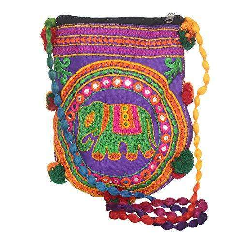 Jaipuri Art Handicraft Traditional Sling Bag (Purple) - Bagaholics Gift