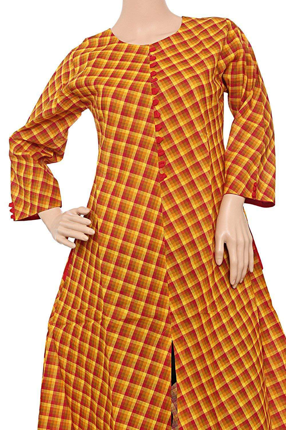 A-Line Printed Casual Cotton Kurti for Women's Orange - Bagaholics Gift