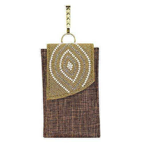 Ethnic Beads & Pearl Jute Mobile Pouch Waist Clip (Dark Gold) - Bagaholics Gift