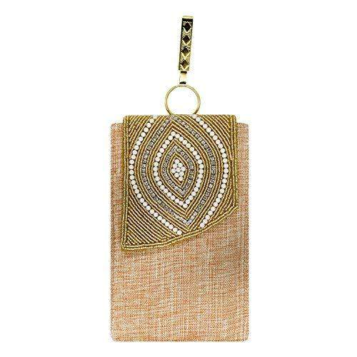 Ethnic Beads & Pearl Jute Mobile Pouch Waist Clip (Beige) - Bagaholics Gift