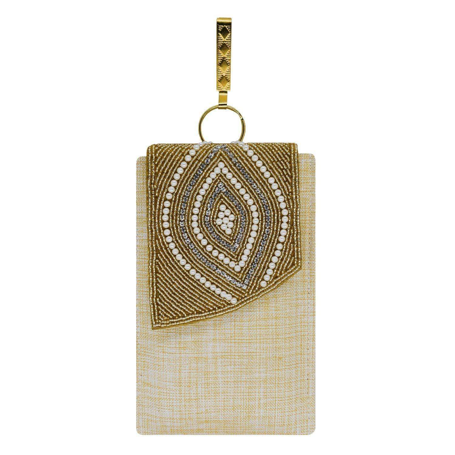 Ethnic Beads & Pearl Jute Mobile Pouch Waist Clip (Gold) - Bagaholics Gift