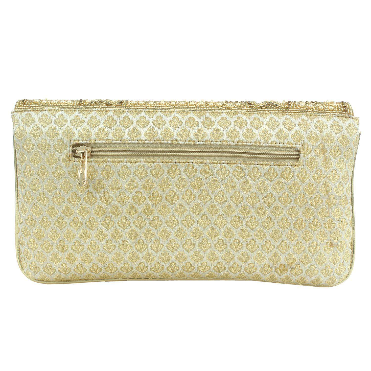 Ethnic Beads and Pearls Silk Clutch (White) - Bagaholics Gift