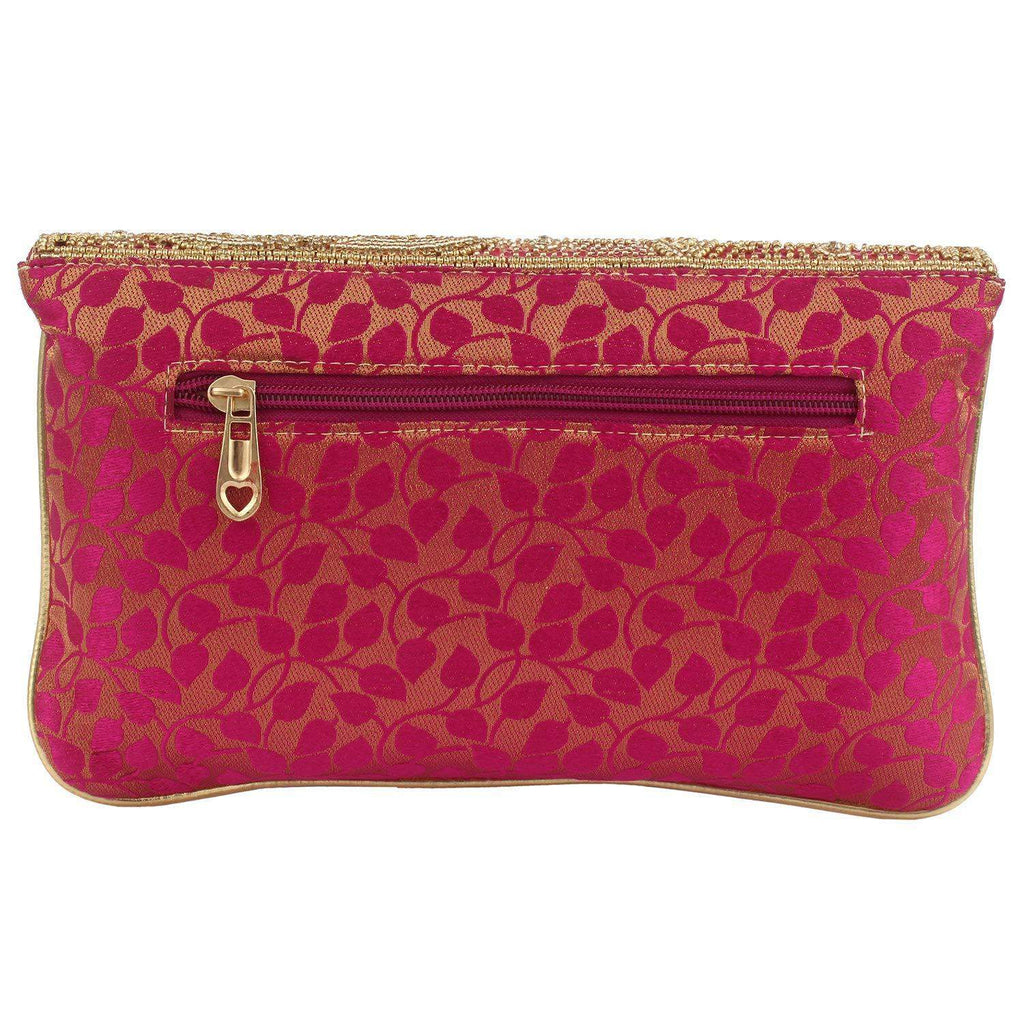 Ethnic Beads and Pearls Silk Clutch (Pink) - Bagaholics Gift