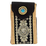 Raw Silk Saree Clutch Waist Clip Mobile Pouch (Black) - Bagaholics Gift