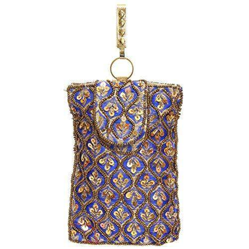 Raw Silk Saree Clutch Waist Clip Mobile Pouch (Blue) - Bagaholics Gift