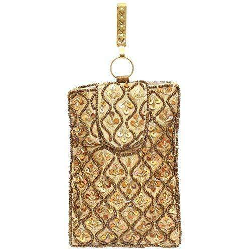 Raw Silk Saree Clutch Waist Clip Mobile Pouch (Gold) - Bagaholics Gift