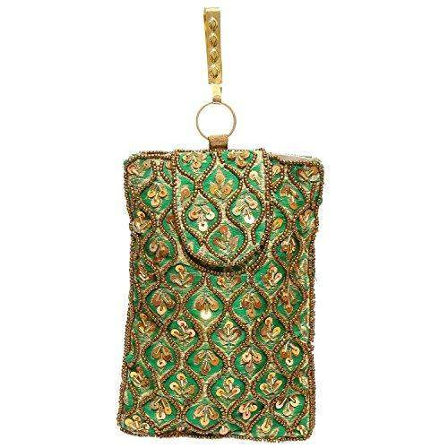 Raw Silk Saree Clutch Waist Clip Mobile Pouch (Green) - Bagaholics Gift