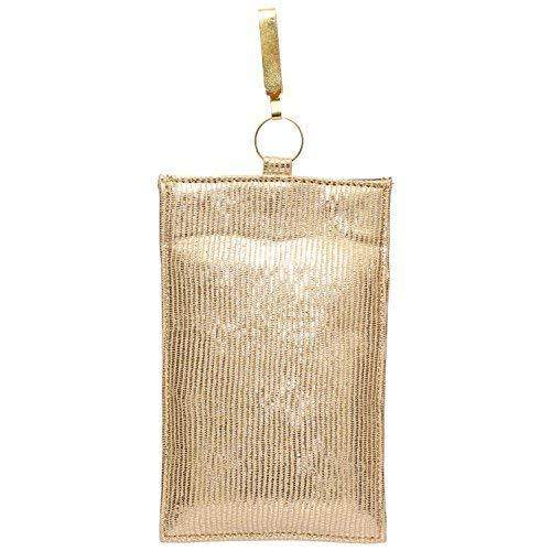Raw Silk Saree Clutch Waist Clip Mobile Pouch (Light Gold) - Bagaholics Gift