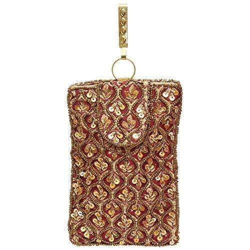 Raw Silk Saree Clutch Waist Clip Mobile Pouch (Maroon) - Bagaholics Gift