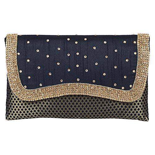Ethnic Embroidery Clutch  (Black) - Bagaholics Gift