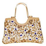 Ethnic Silk Clutch Hand Bag (Blue) - Bagaholics Gift