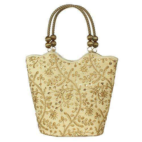 Ethnic Silk Hand Held Bag with Embroidery Work (Gold) - Bagaholics Gift