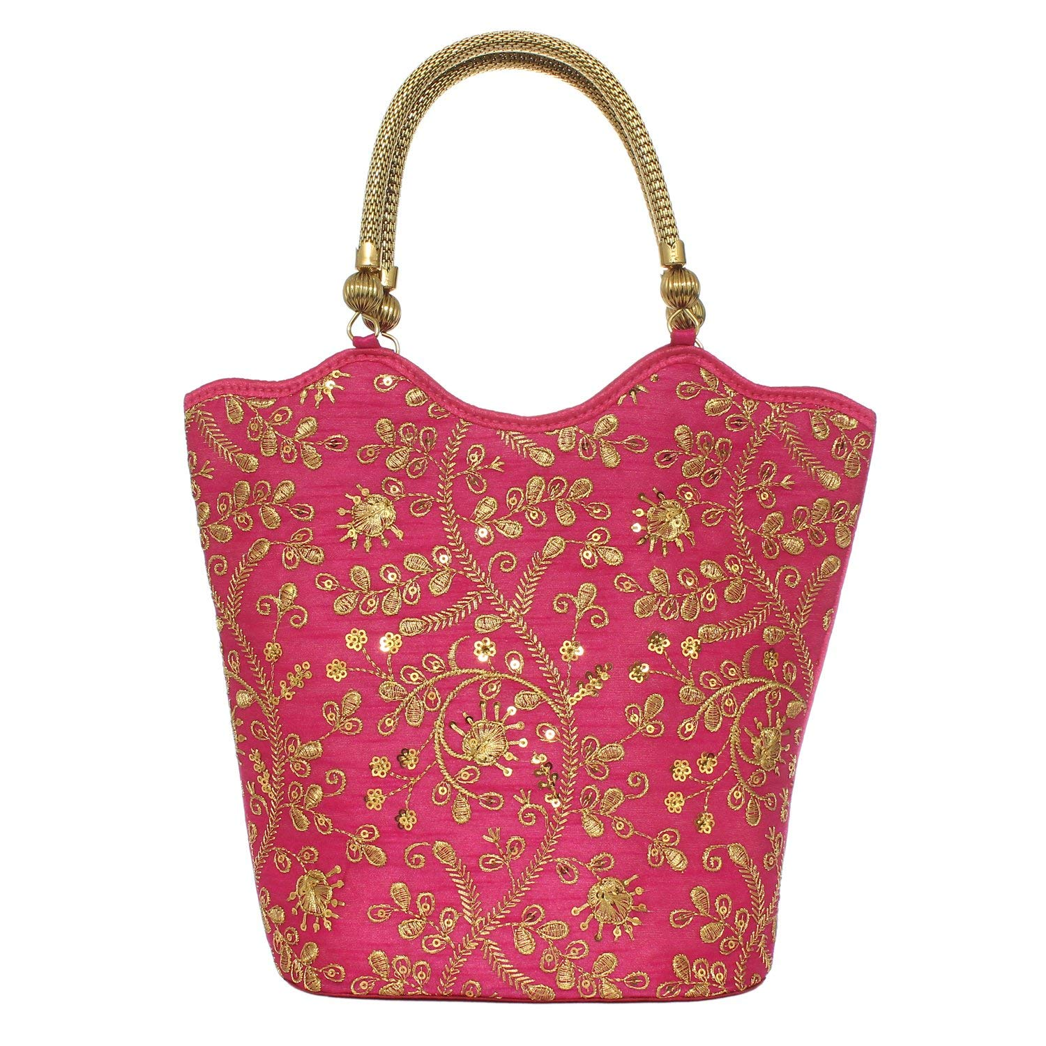 Ethnic Silk Hand Held Bag with Embroidery Work (Pink) - Bagaholics Gift