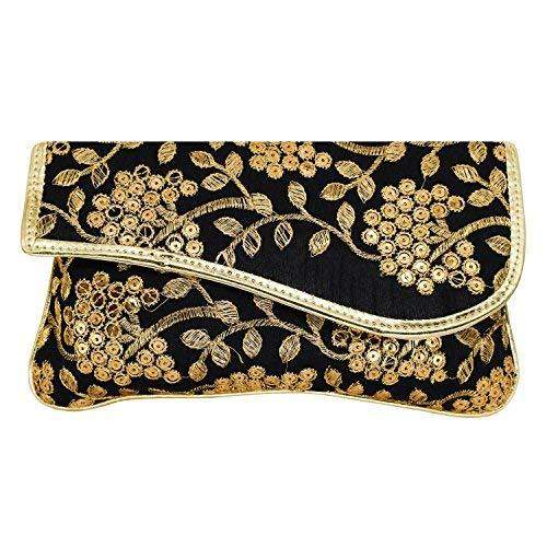 Ethnic Silk Clutch Embroidery Work (Black) - Bagaholics Gift