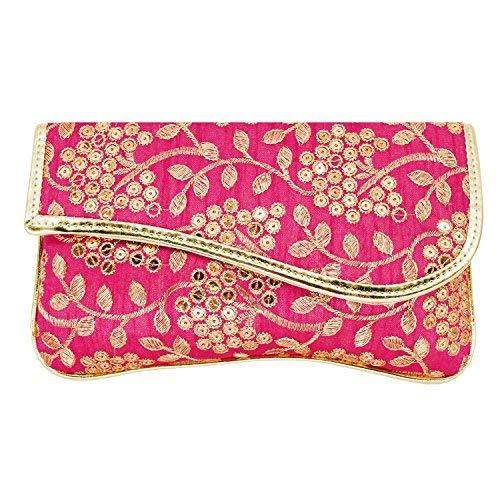 Ethnic Silk Clutch Embroidery Work (Pink) - Bagaholics Gift