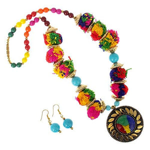 Hand Work and Beads Pendant Necklace Set with Pom Pom (Multicolor) - Bagaholics Gift